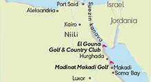 Kartta golfkohteista, Egypti